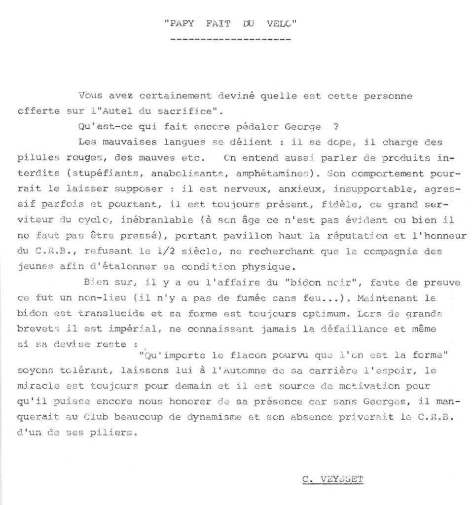 Extrait du bulletin club de juin 1985