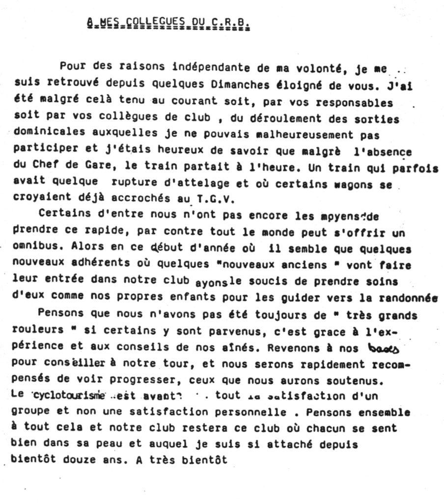 Éditorial de George Bouysset paru dans un bulletin des années 1980