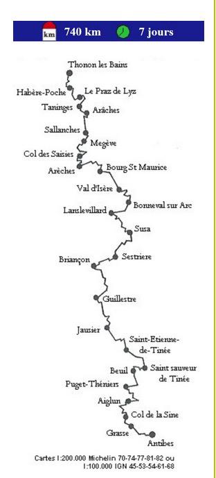Tracé de la randonnée alpine Thonon-Antibes